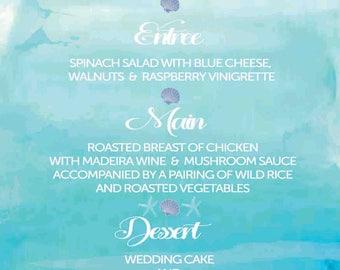 Printable watercolour beach ocean wedding menu wedding invitations suite watercolour invitation set