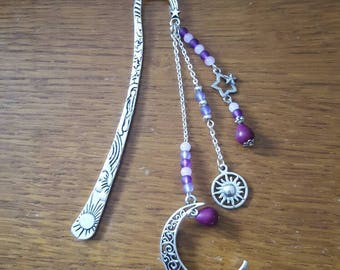 Bookmark Crescent Moon, Star and Sun howlite and purple/mauve/pink beads