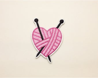 Knitting heart patch, iron on patch heart, patch jeans, embroidered patch set, sew on patch, love patch, Pink heart patch