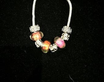 European bracelet with European beads pink orange