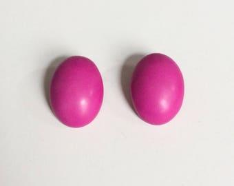 Retro 1960's Fushia Pink Oval Clip On Statement Earrings