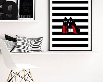 Louboutin Art Print, High Heels Print, Black Red White Art, Fashion Shoes Art, Modern Art, Wall Art, Home Decor, Printable Art, Stripes