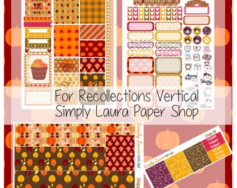 Recollections Weekly Kits|Fall Planner Sticker Kits|Full sticker kits|Autumn sticker kit|Planner|Simply Laura|Recollections vertical Kits