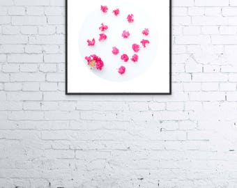 Pink Crepe Myrtle, Flower Petals, Circle Crop,Digital Art Photo, Home Decor