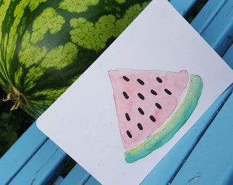 Postcard with watermelon design