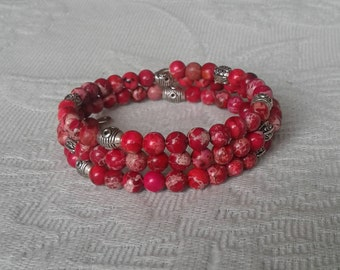 Natural Sea Sediment Jasper and Silver Plated Wire Wrap Bracelet