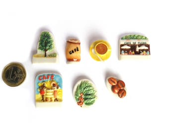 7 miniature porcelain theme coffee beans for cake or decorative display - Epiphany, miniatures Collection