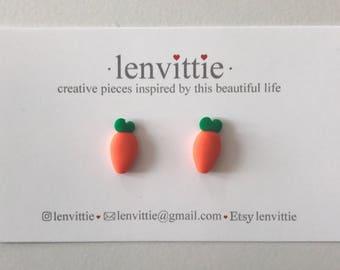 Polymer Clay Carrot Stud Earrings