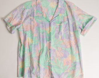 Vintage 80's-90s Tropical Print Short Sleeve Button Down