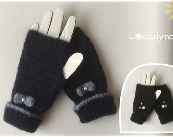 Crochet and knitting-blue mittens Navy bow blue-black rhinestone gift woman or teen-Mohair and acrylic-Funny Winter Mittens-Hand Made