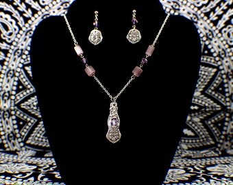 Silverware Flower Necklace and Earrings - Purple Lavender Glass Beads