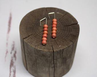 Coral Wood Bead Earrings