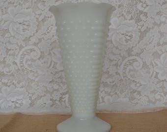 Anchor Hocking Hobnail Pattern Milk Glass Vase
