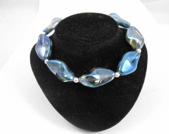 Bracelet 925 sterling silver and translucent blue glass beads