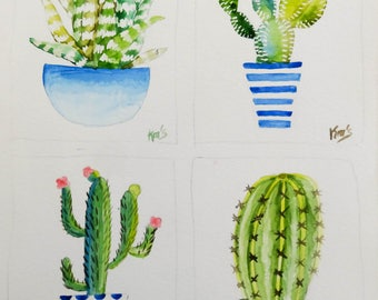 4 Mini Cactus stylized in their blue vases