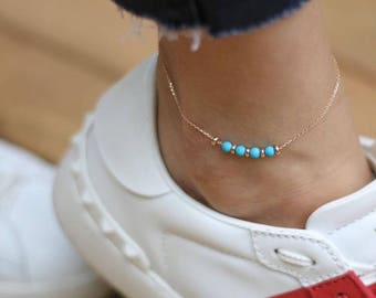 Hand-made Gold Blue Stones Anklet / Gold Anklet Available in 14k Gold, White Gold or Rose Gold
