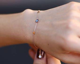 Gold Tiny Heart With Evil Eye Bracelet -Handmade Gold Bracelet - 14k Gold Bracelet -   Available in 14k Gold, White Gold or Rose Gold