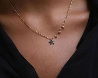 14K Gold Stars With Stones Necklace/Gold Necklace Available in 14k Gold, White Gold or Rose Gold