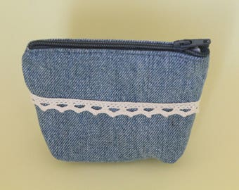 Small coin purse, denim and lace