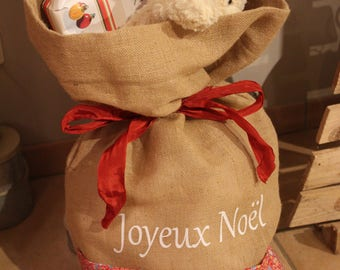 Personalized Christmas gifts/toys bag jute and liberty
