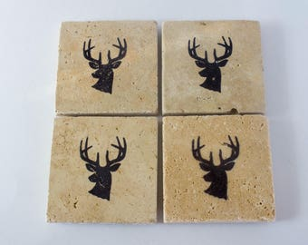 Deer Gifts |  Square Coasters | Deer Coasters | Hunting Gift | Stone Coaster | Rustic Home Decor | Rustic Coasters | Gift For The Home