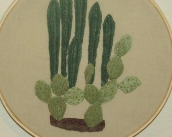Mexican Fence post cacti & prickle pear cacti hoop art