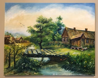 Oil Painting - Small village