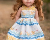 """SUMMER QUACKERS Cotton Duck Dress & Pantalettes Fits 14"""" Dolls like Wellie Wisher"""