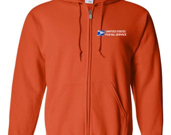 USPS Orange Full Zipped Postal Hoodie - All sizes available!