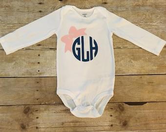 Personalized Monogram with Bow Onesie, Monogram onesie, baby girl monogram, custom baby onesie