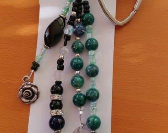 Black Emerald charm keychain