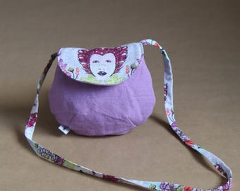 My first girl bag, mini bag in hand - purple cotton and faces