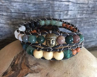 Buddha, Jade and Wood Double Wrap Diffuser Bracelet.