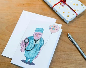 Funny Dr Chick Illustrated Happy Birthday Card