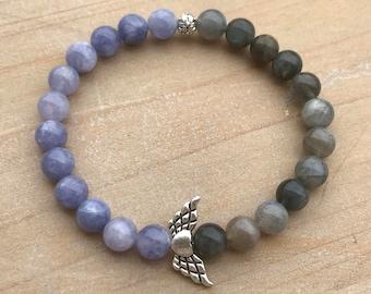 Guardian Angel Bracelet, Angelite Bracelet, Labradorite Bracelet, Angelic Bracelet, Wrist Mala, Spiritual Bracelet, Yoga Bracelet, Bohemian