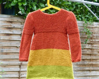 Alpaca girl dress size 4t, handmade girl's dress, knit dress