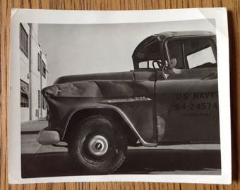 Vintage Original Black and White Photo Old Navy Pickup Truck 1950s Chevy Chevrolet 3100? Beauteful Image!