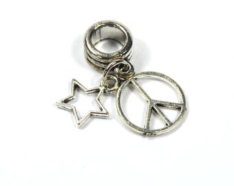 "Hanging Bead + 2 Charms ""Star"" and ""Peace and love"" 