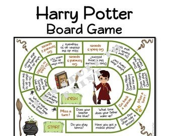 Wizard Board Game + DIY dice for little wizards, witches and Harry potter fans - Game, questions, speaking game