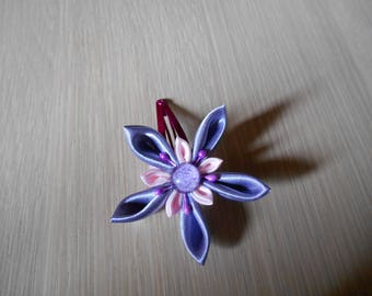 Hair clip with pink and purple satin flower