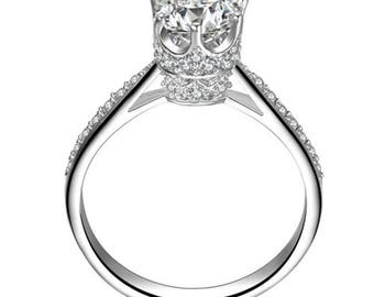 925 Sterling Silver Engagment Wedding Crown CZ Ring Band Women's Size 3-12 Ss21