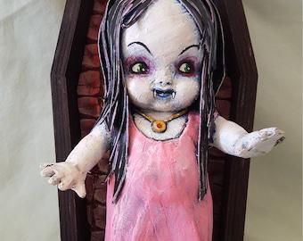 Vampire Girl Kewpie Doll with Coffin