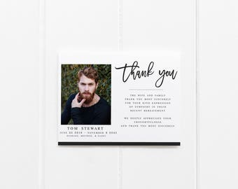 Modern Funeral Acknowledgement Card Template Sympathy Acknowledgement  Funeral Cards Memorial Service Funeral Editable Template Thank You  Memorial Card Template Word