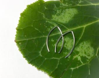 925 Sterling Silver Simple Drop Wire Geometric Threader Earrings