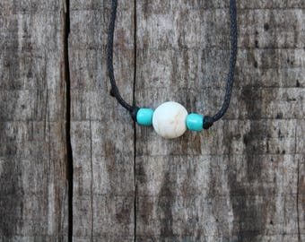 White Stone Ball Pendant Choker with Turqoise or Pink Accents