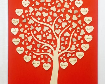 Tree of hearts for wedding gift, Wooden tree, Wedding gift, Personalized detail, Tree with wooden hearts