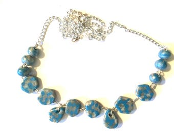 Blue and Sliver Checkered Necklace/Earring Set