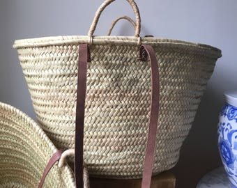Oversized French Market Basket Seagrass Natural Woven Bag with Leather Handle and Straw Strap - African / Boho Feel - 25 x 15 - Crossbody