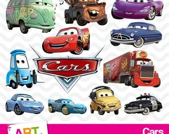 Cars Clipart, High Resolution Disney Cars Images, Cars Birthday Party, Printable Lightning McQueen, Pixar PNG Files, art-007