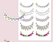 RAINBOW BANNER BUNTING | Planner Stickers  | Flags | Colourful | Decorative | Erin Condren |   | S2